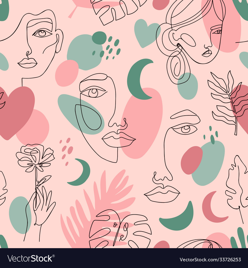 Abstract female portraits pattern seamless hand
