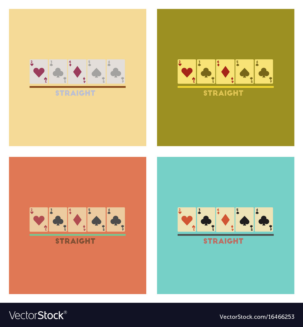 Assembly flat icons poker cards straight