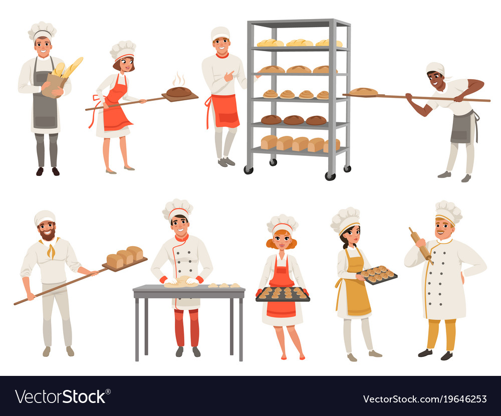 Bakers characters set with bread and cooking tools