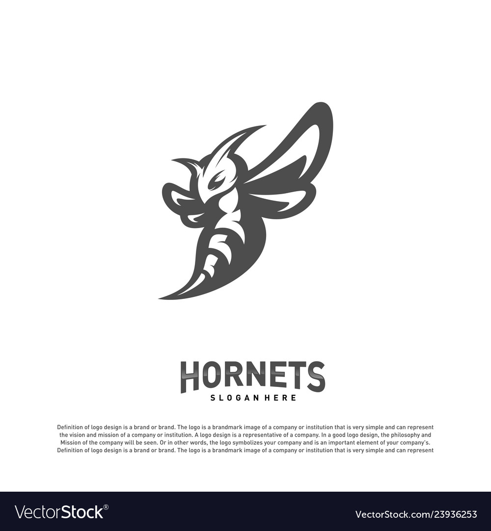 Bee logo design hornets logo template icon symbol