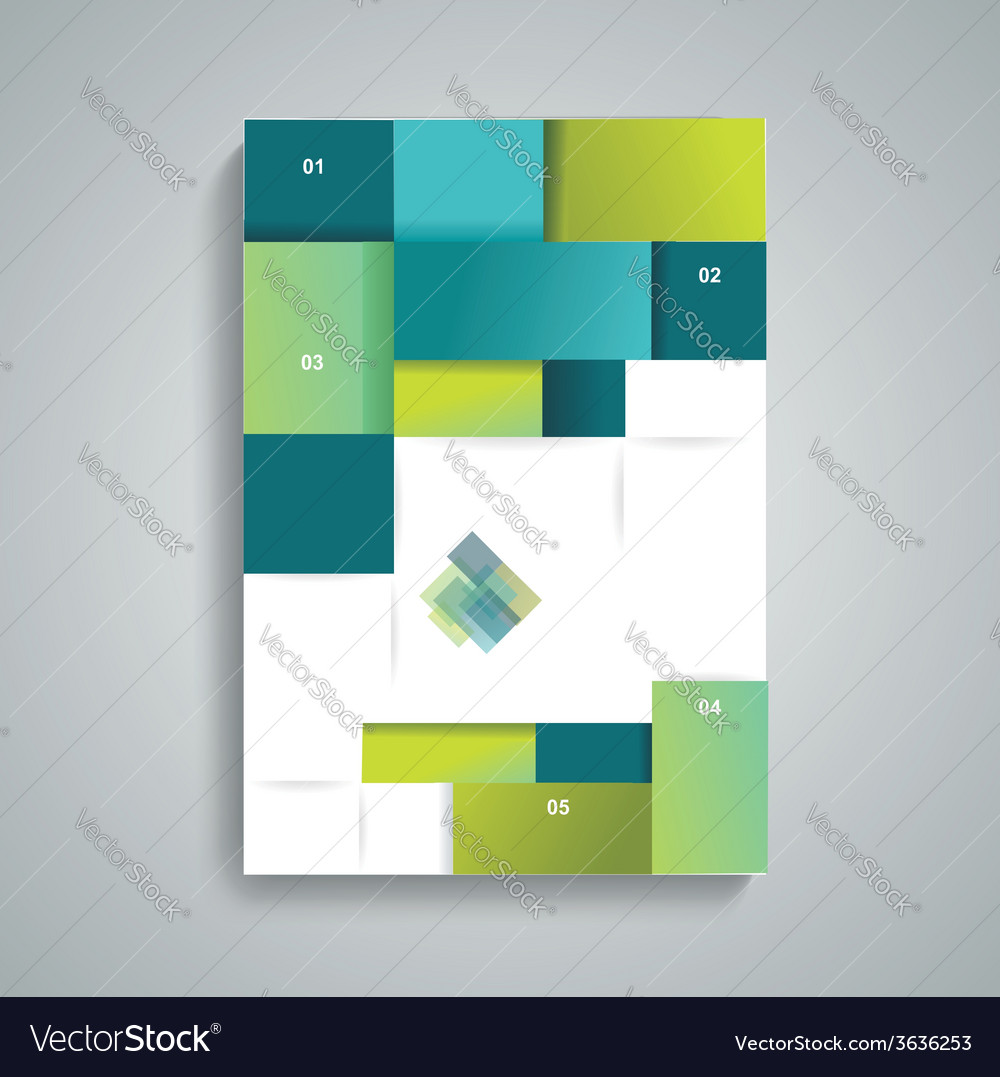 Brochure template design with cubes and squares