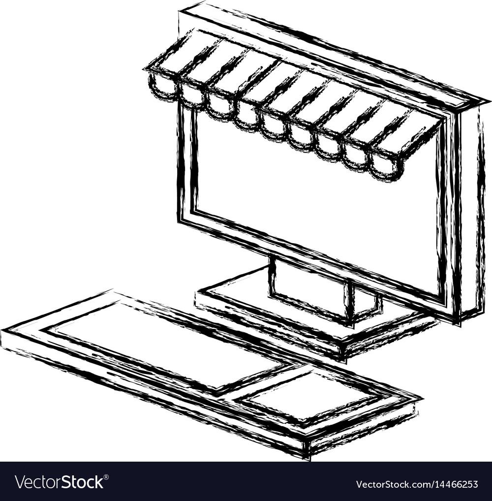 Computer desktop with parasol icon