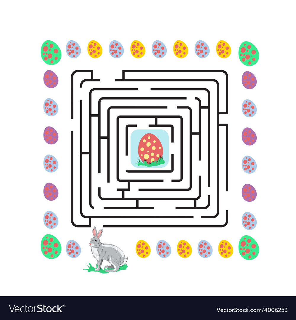 Easter maze with rabbit