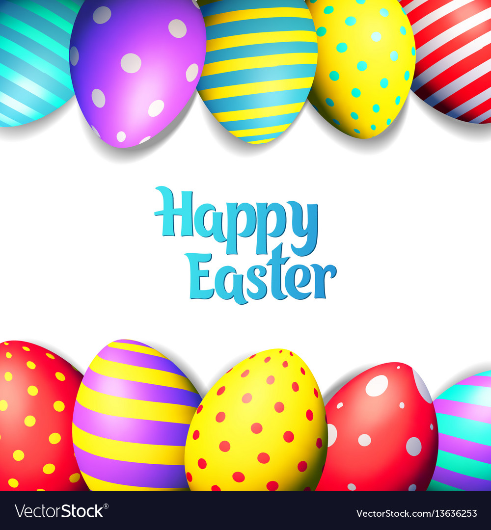 Happy easter eggs and text on colored background