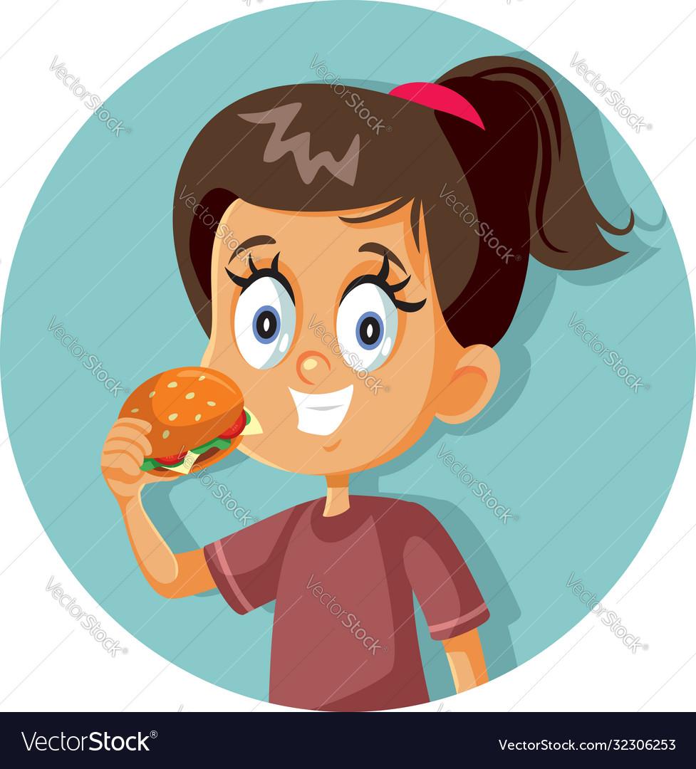 Happy girl eating a hamburger cartoon