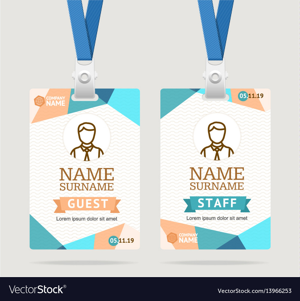 Id Card Template Plastic Badge Royalty Free Vector Image - Conference badge design template