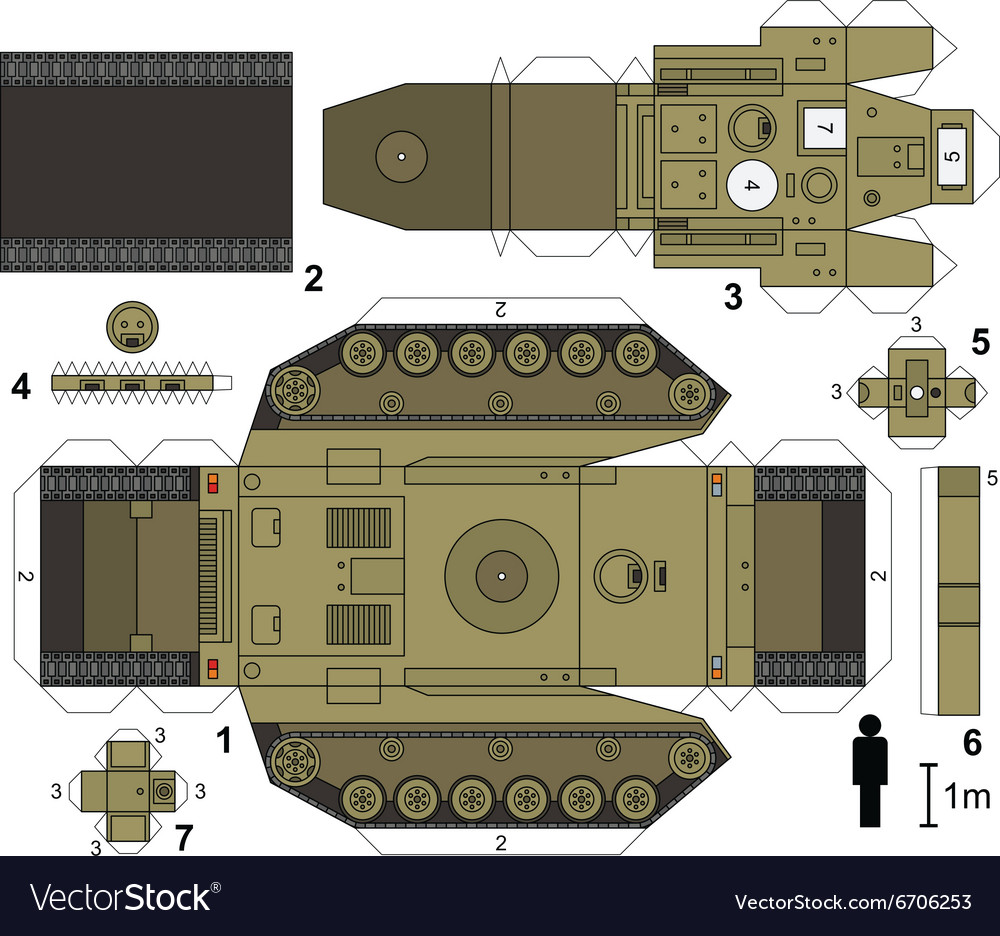 Paper Model Of A Tank Royalty Free Vector Image