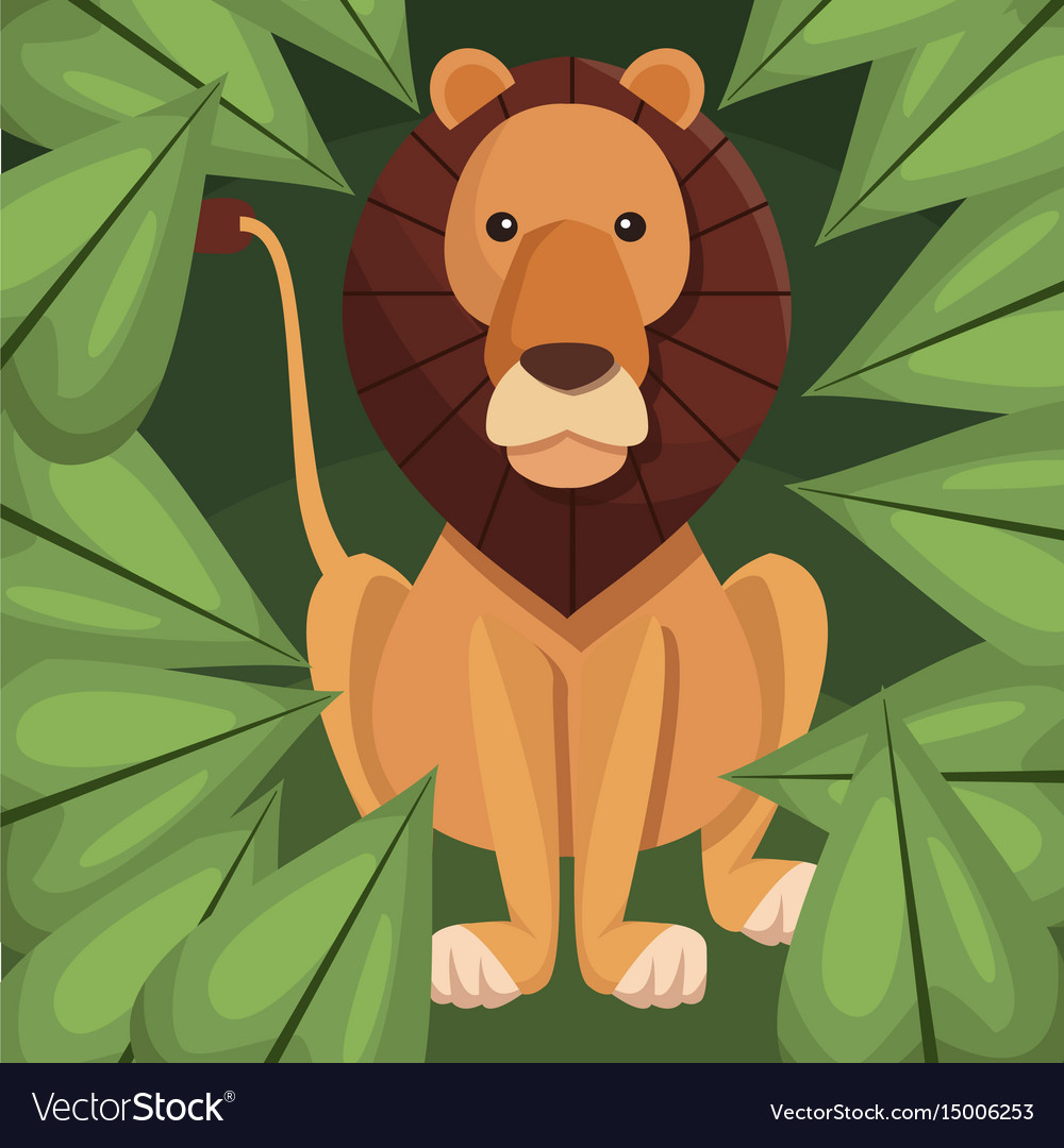 Realistic color poster closeup lion in the jungle