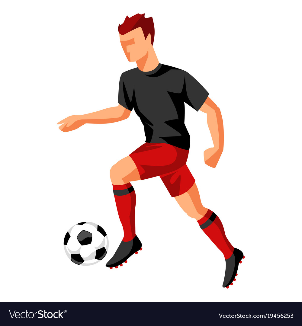 Soccer Player With Ball Sports Football Royalty Free Vector