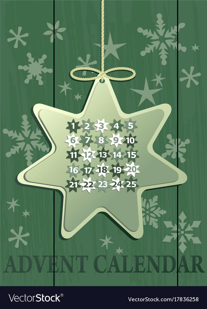 Advent calendar with christmas star