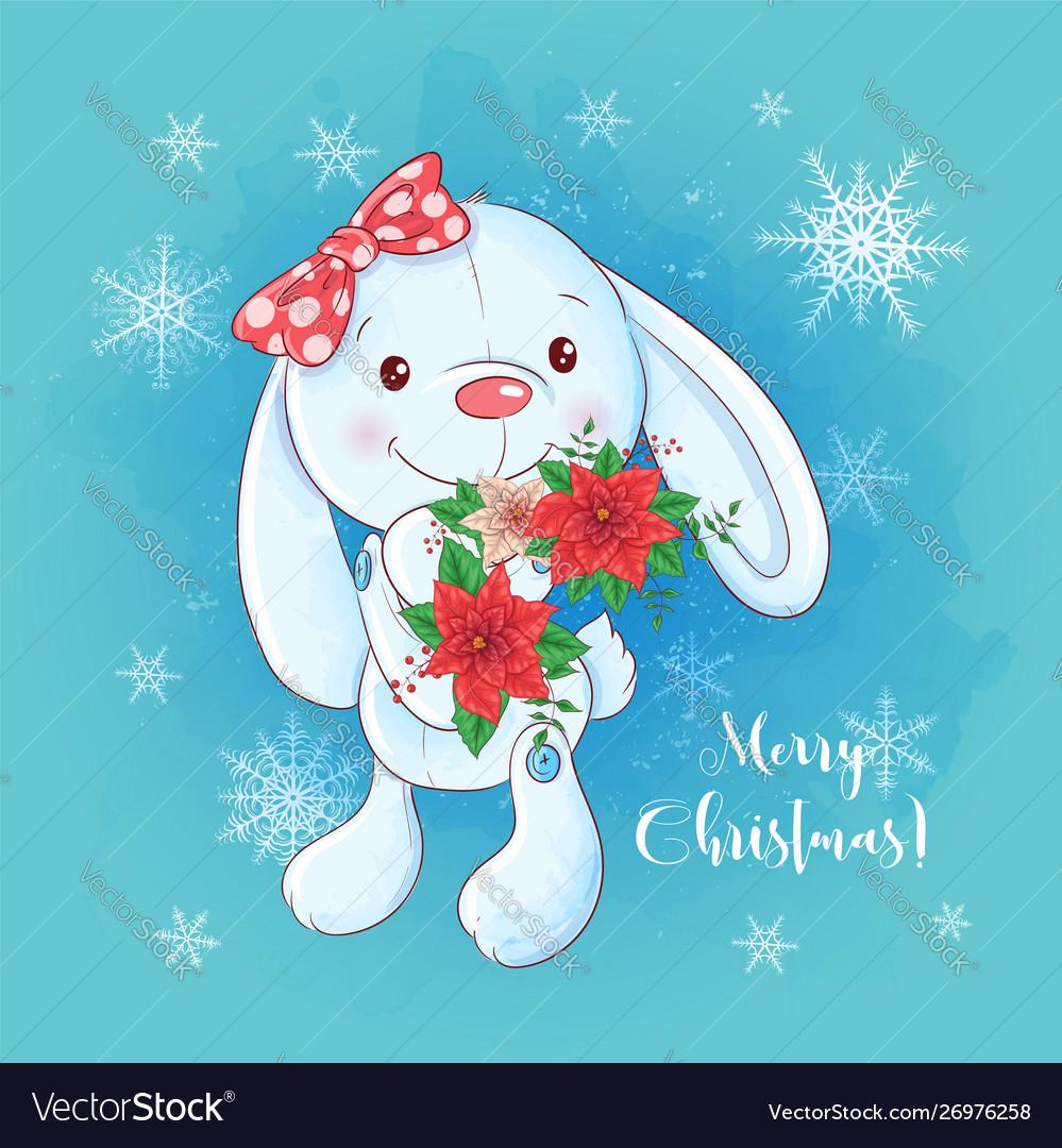 Cute christmas card with cartoon bunny and a