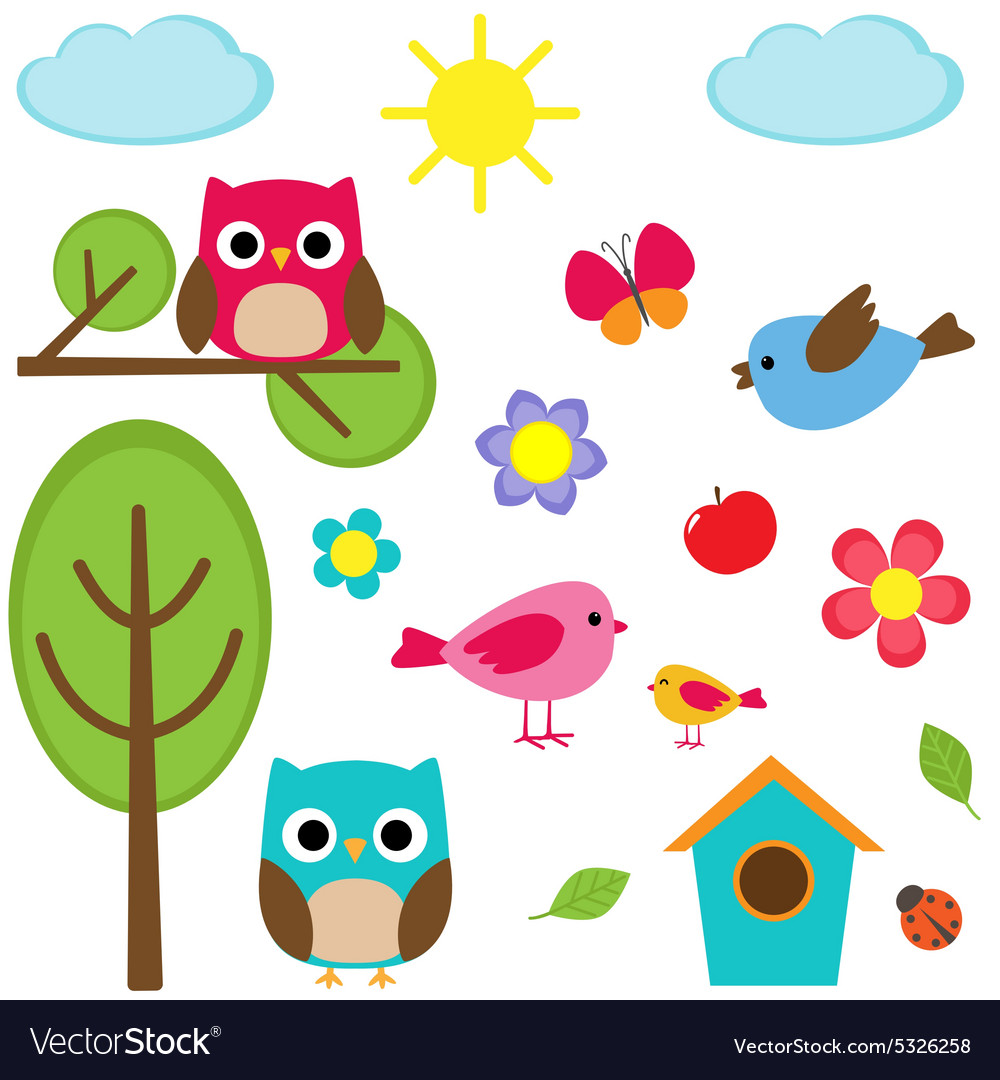 Different summer elements vector image