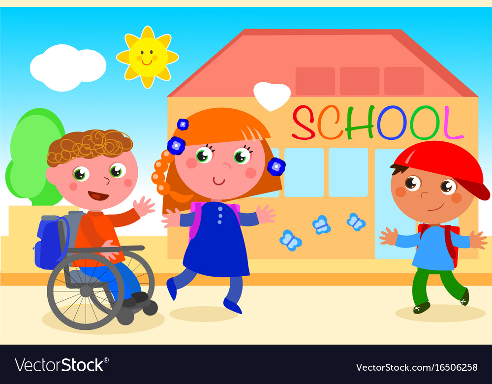 Disabled Boy Going To School With Friends Vector Image