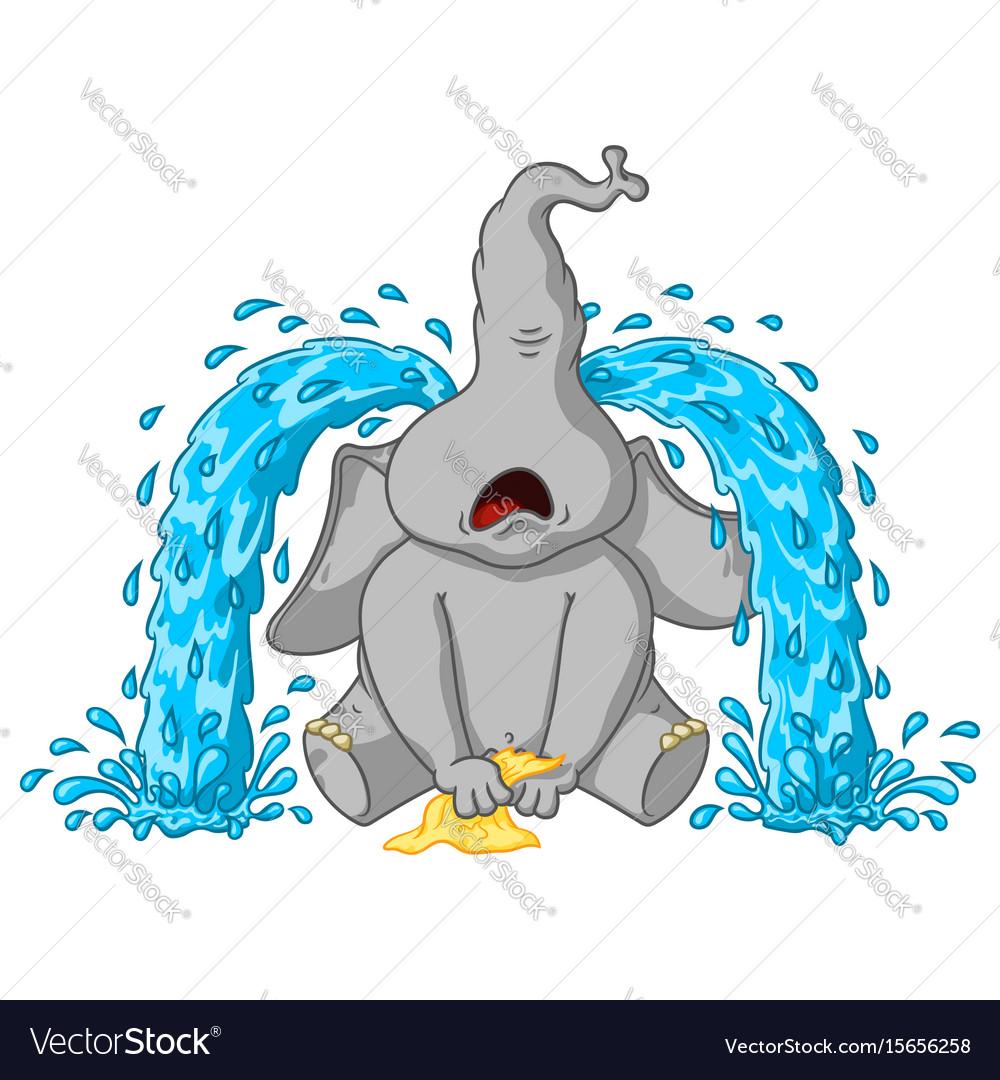 Elephant sobs big tears cartoon