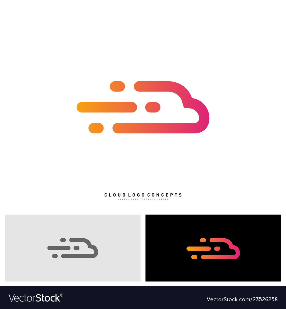 Fast cloud logo design concept tech cloud logo