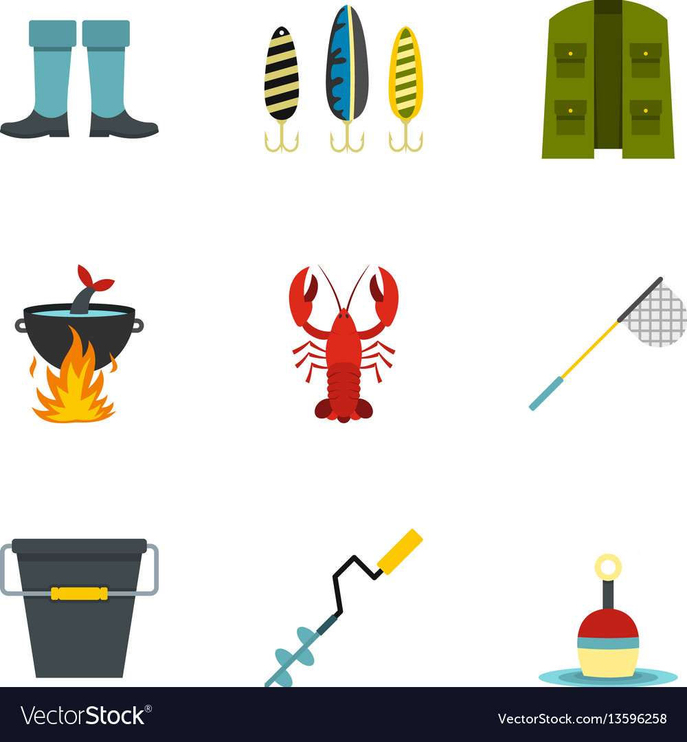 Fishing elements icons set flat style