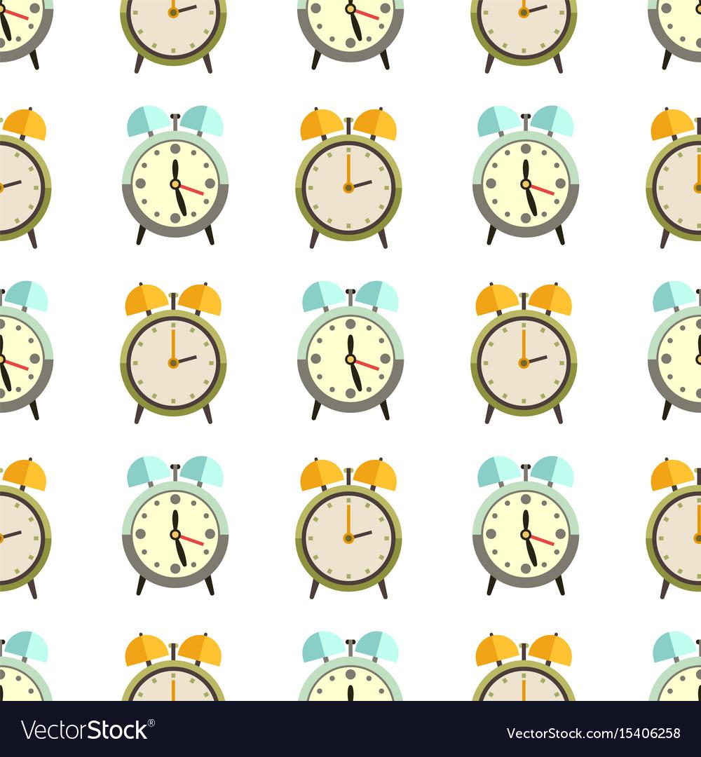 Flat clocks seamless pattern design - alarm