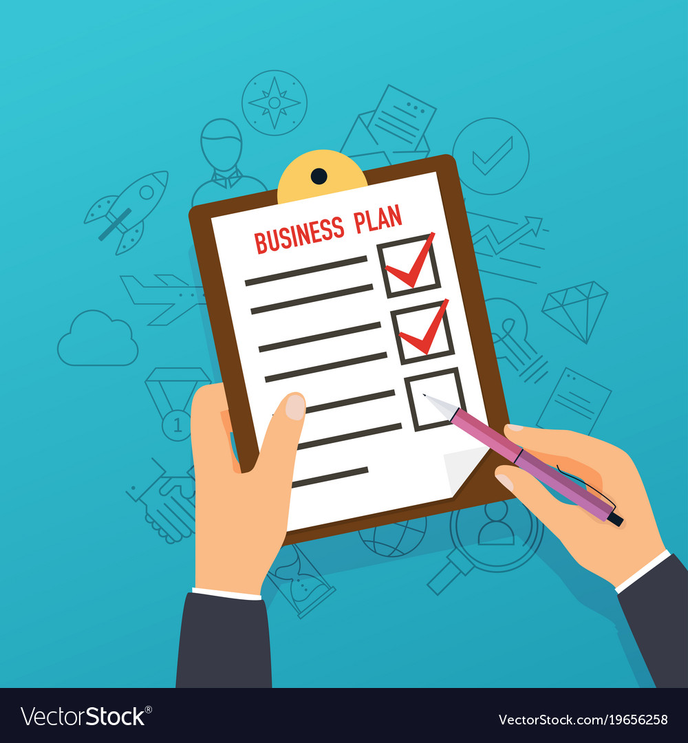 Hand holding clipboard with business plan flat