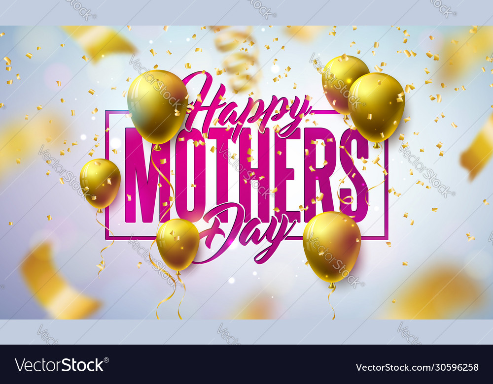 Happy mothers day greeting card design with gold