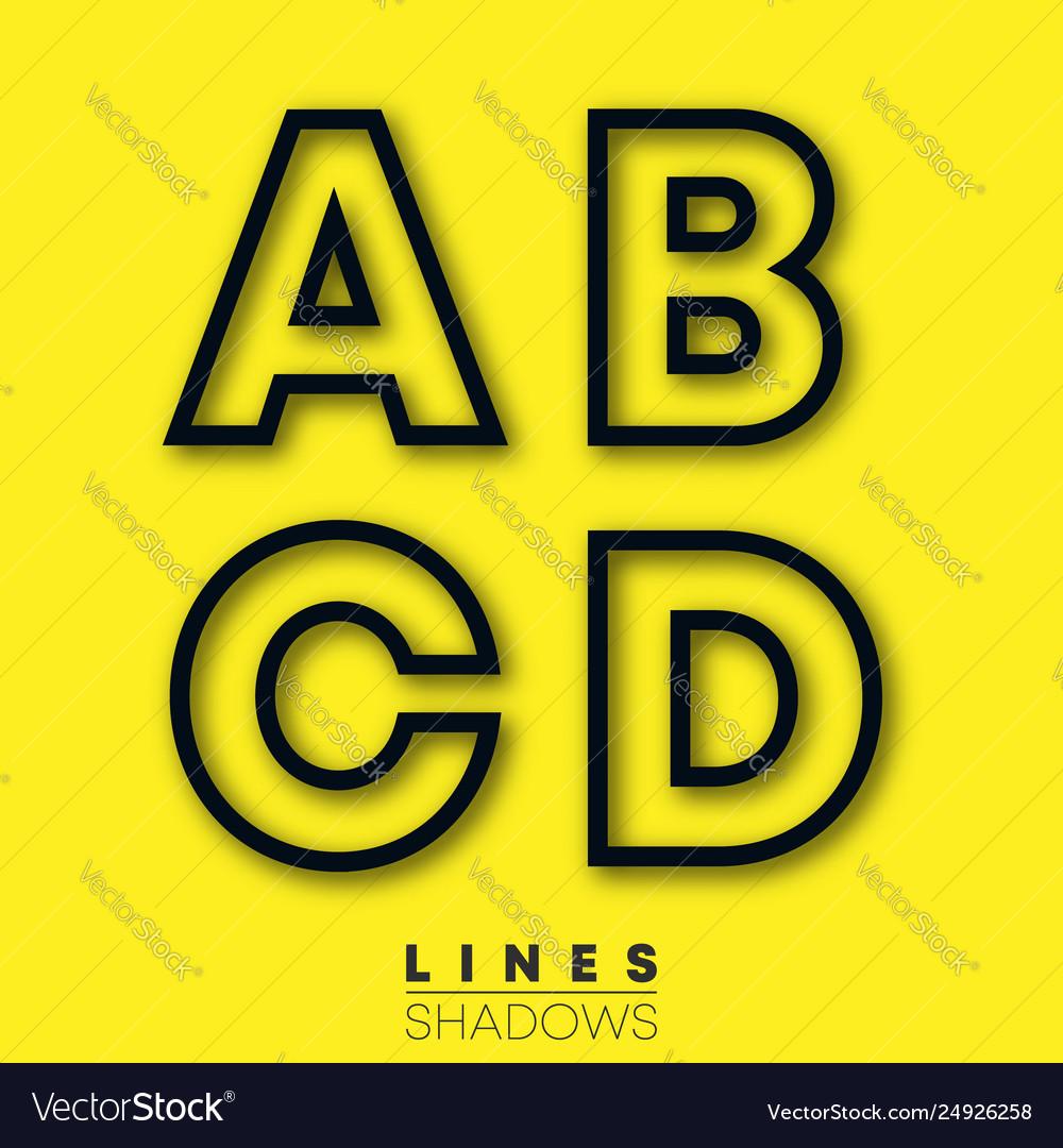Letters linear design set letter a b c d