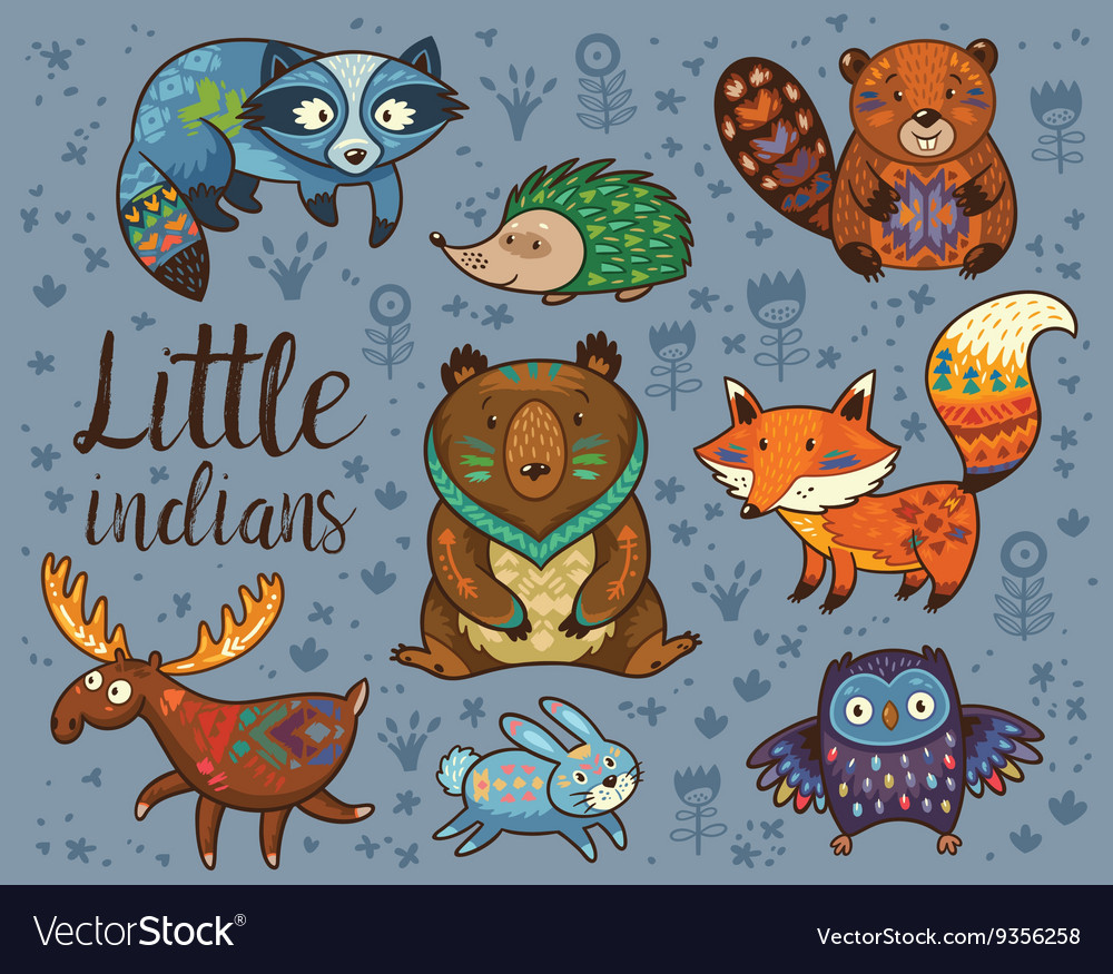Little indians Woodland tribal animals set