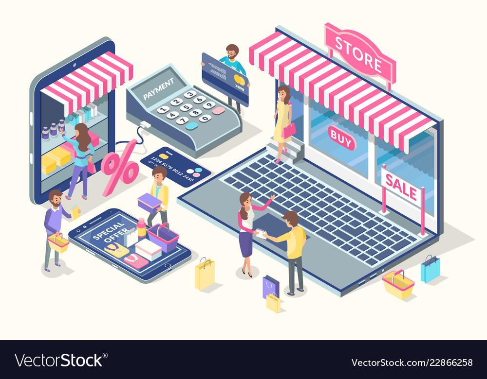 Online shopping emblem cartoon banner