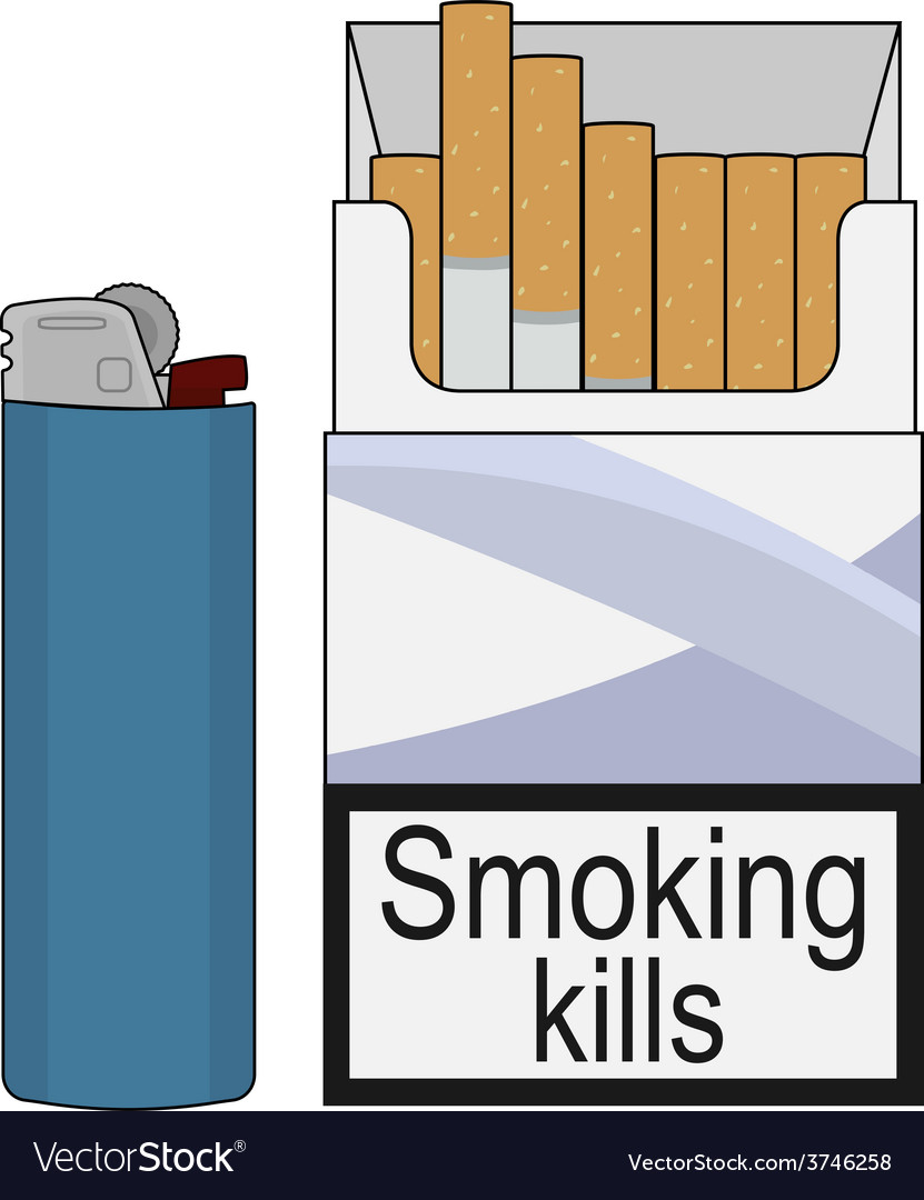 Open cigarettes pack with gas lighter Color