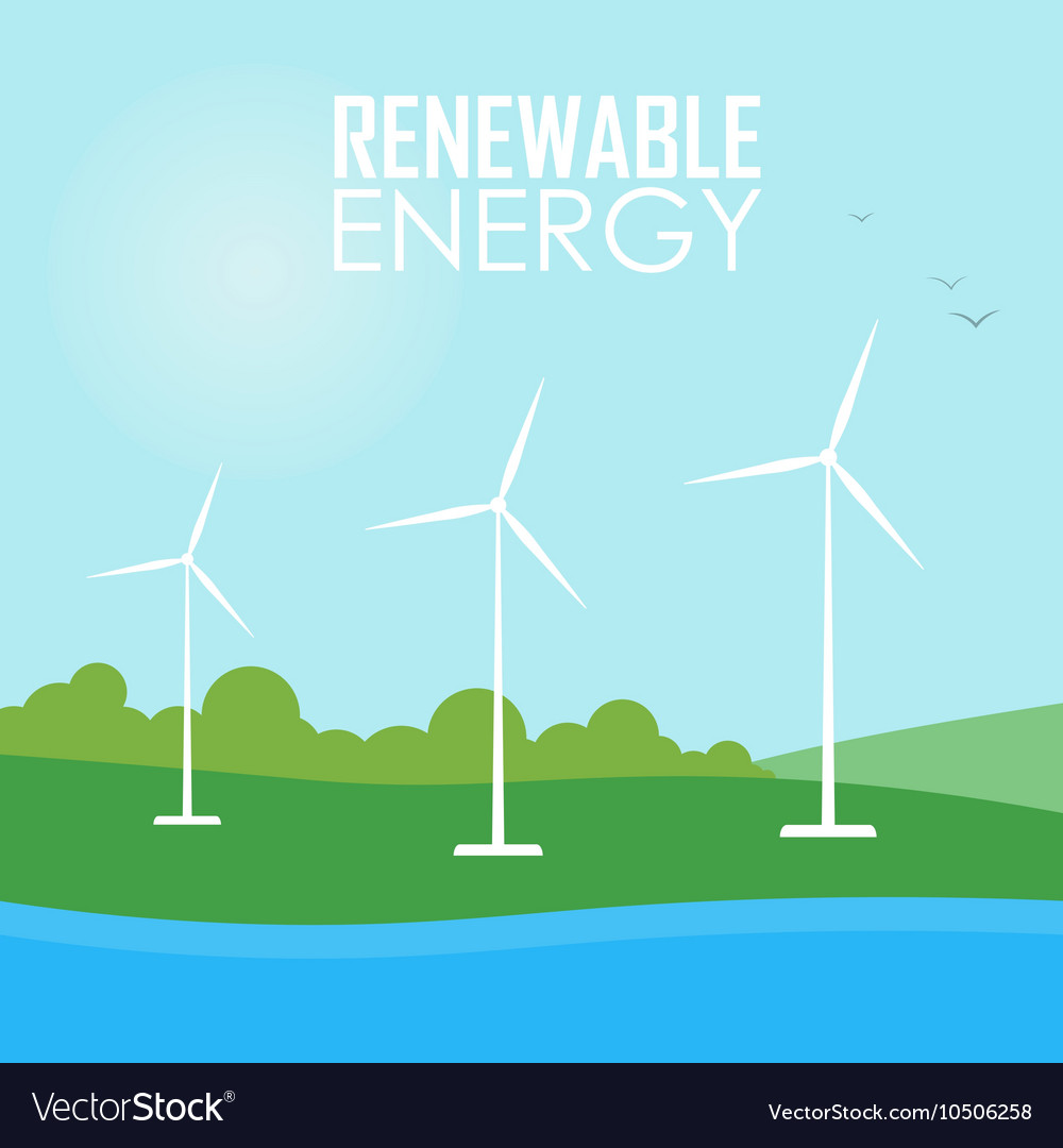 Renewable energy Wind generator turbines vector image on VectorStock