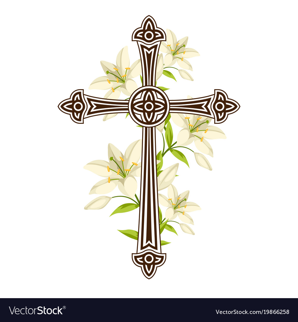 Silhouette of ornate cross with lilies happy