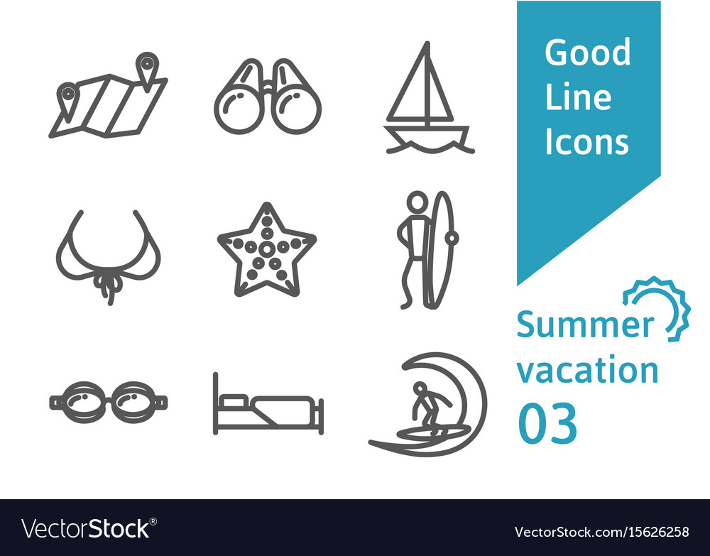 Summer vacation outline icons set 03