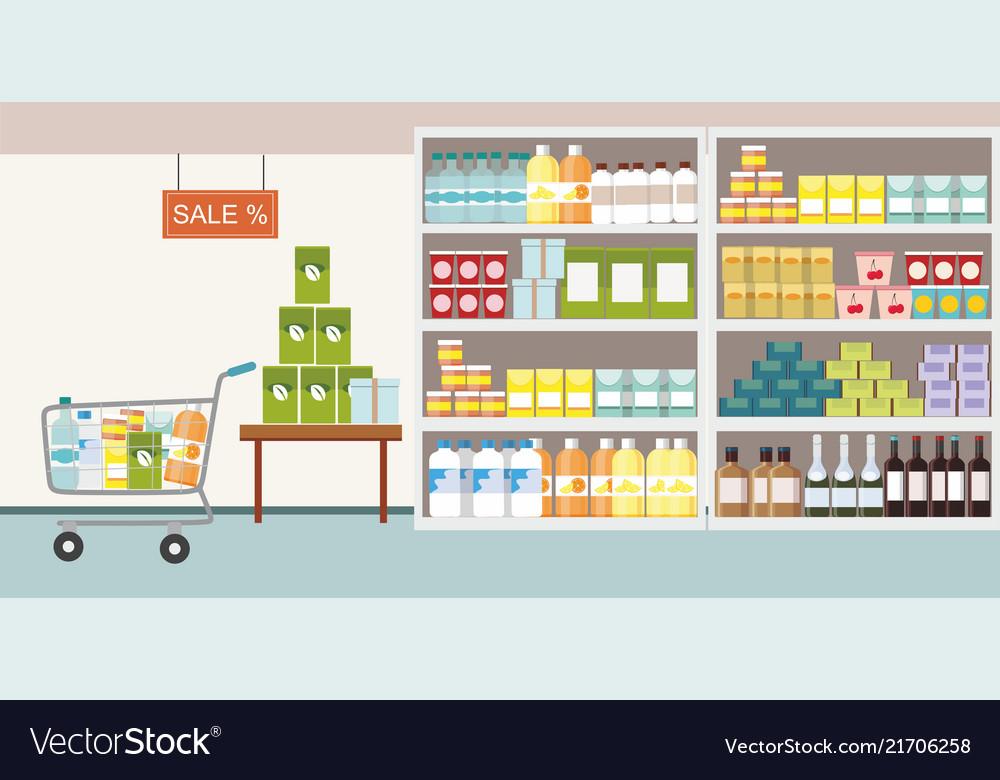 Supermarket interior commodity product on shelf