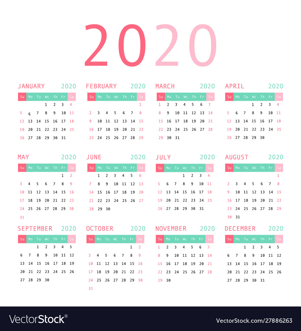 Calendar 2020 pocket basic grid