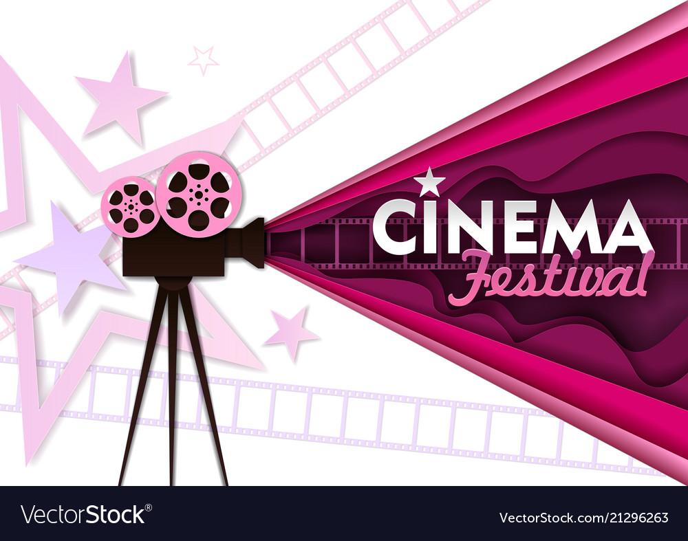 Cinema festival paper cut poster template