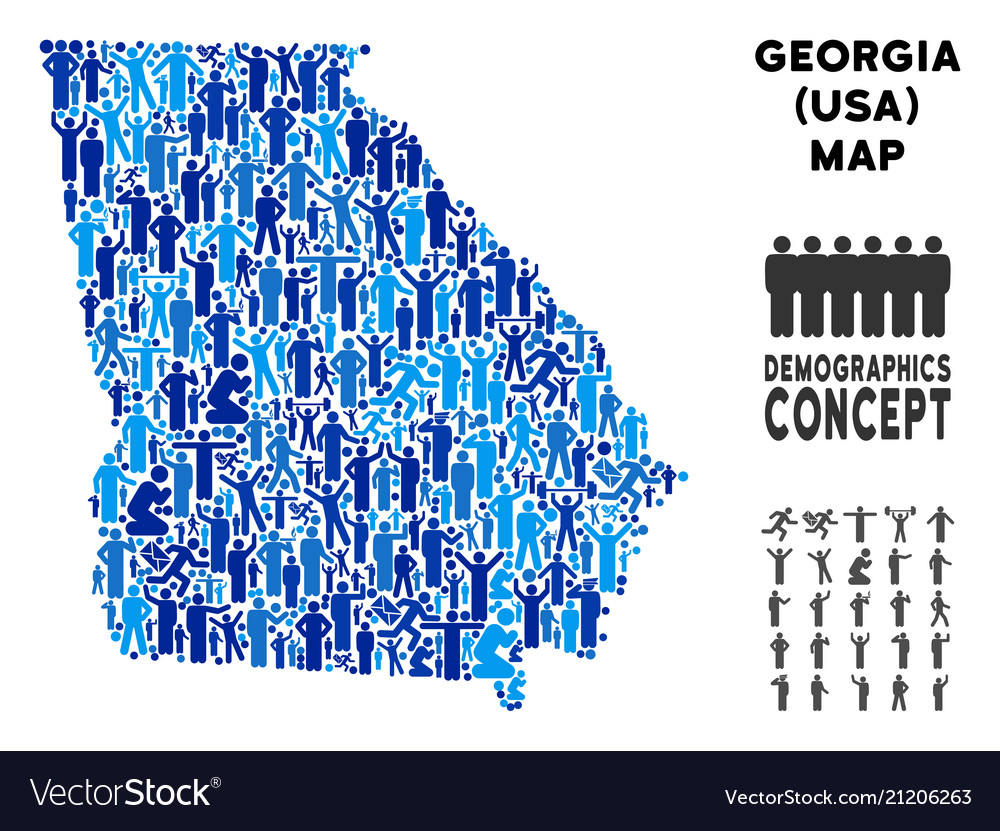 Demographics american state georgia map Royalty Free Vector