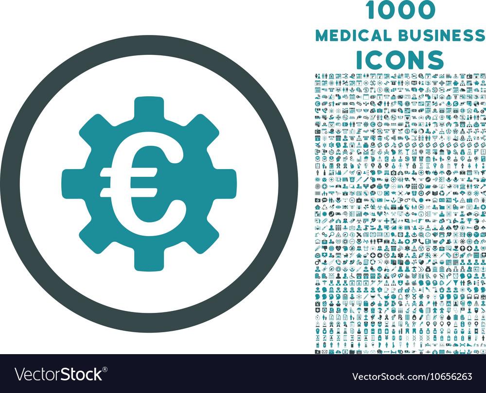 Euro Machinery Rounded Icon with 1000 Bonus Icons
