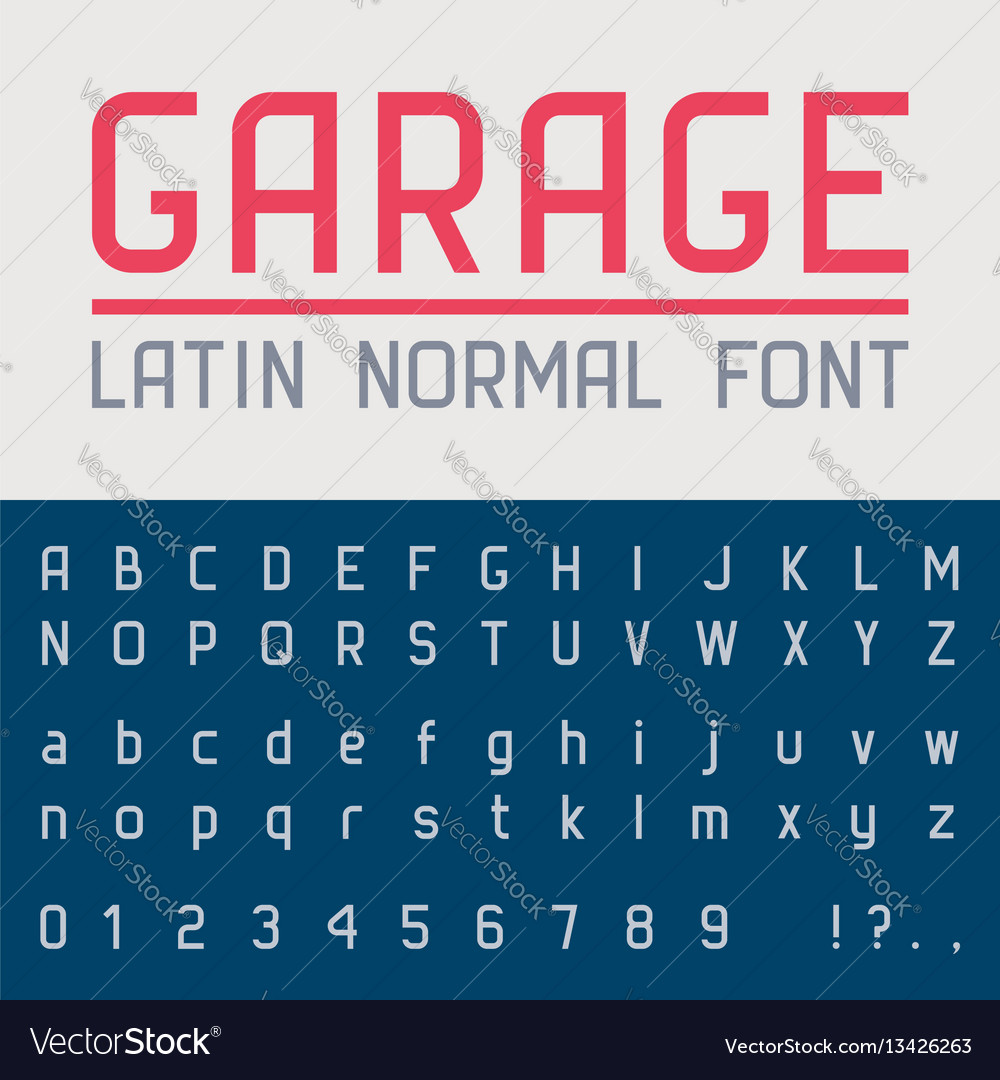 Garage normal font vector image