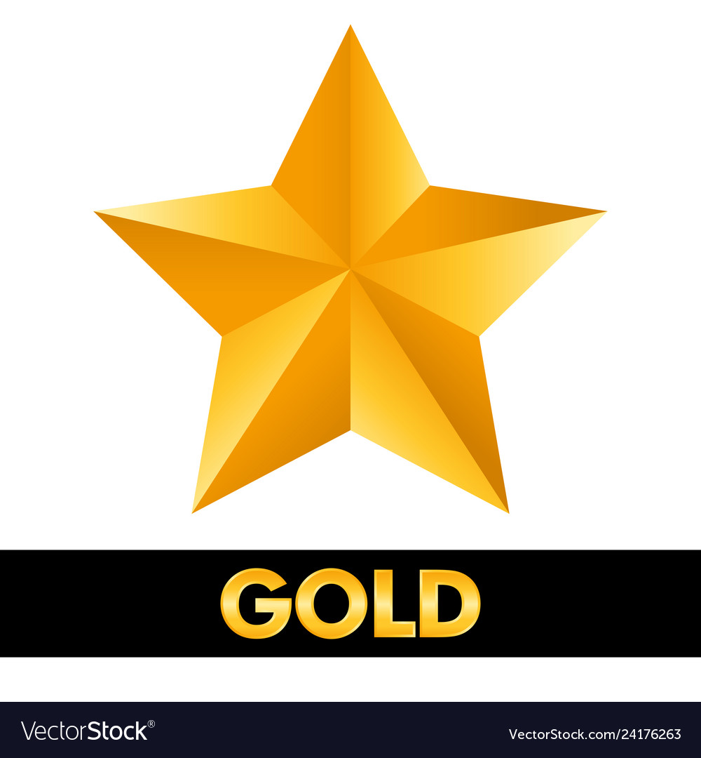 Gold star 3d shiny metal isolated on white