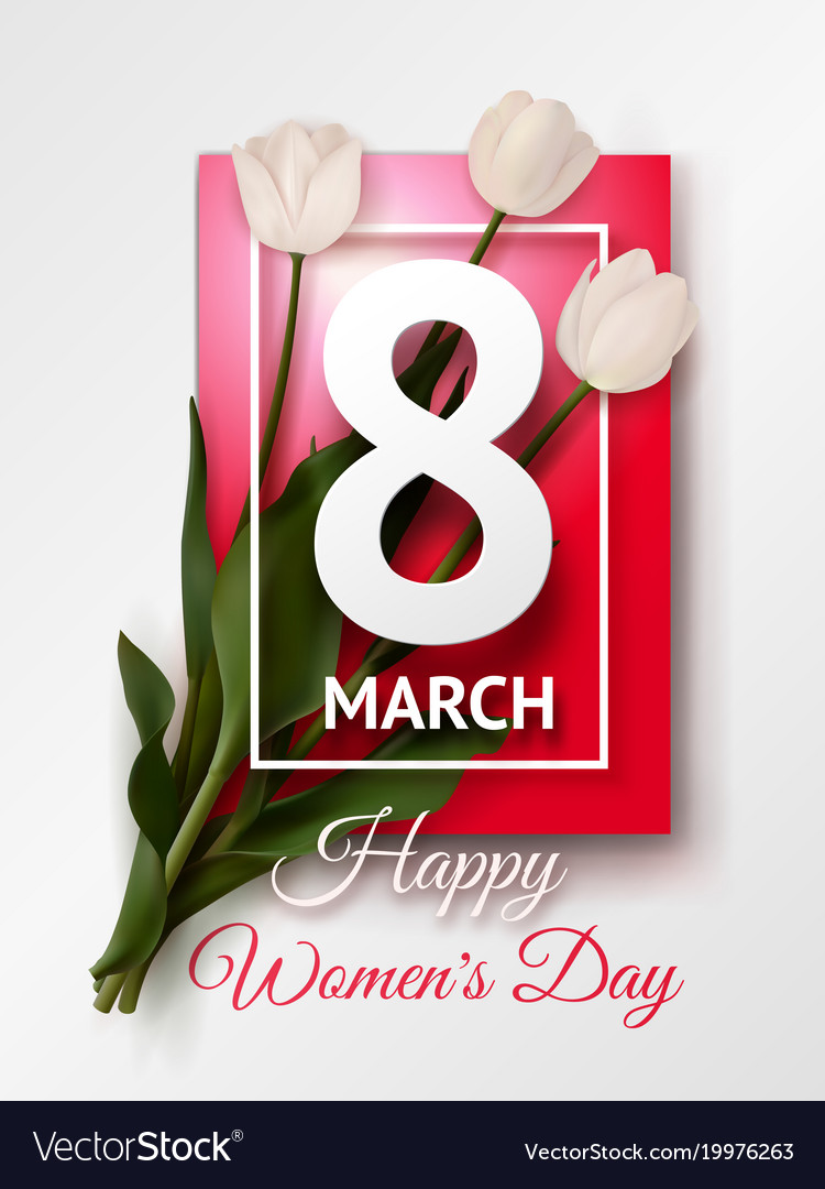 Happy womens day march 8 greeting card vector image