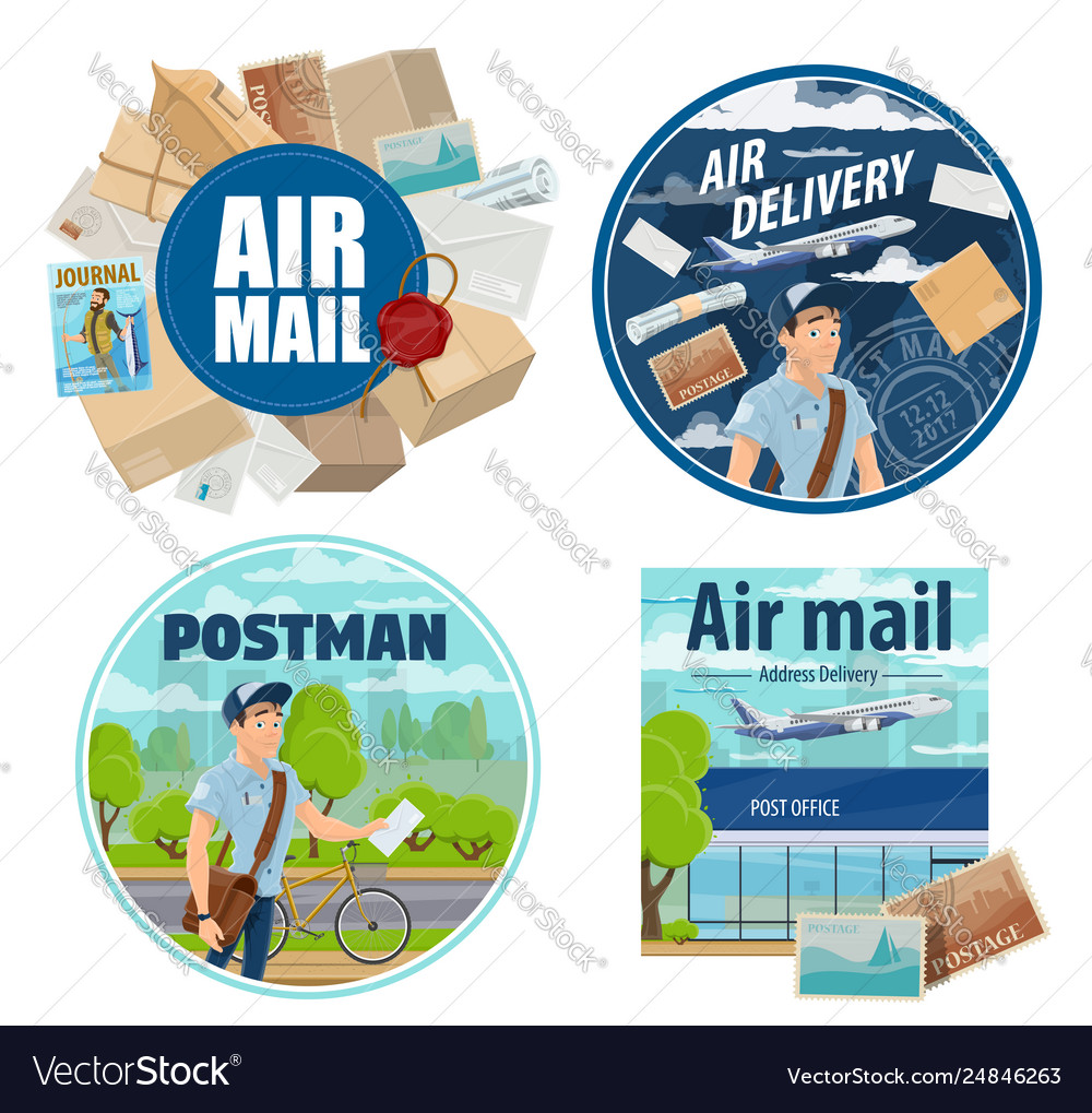 Mail delivery postman and post parcels