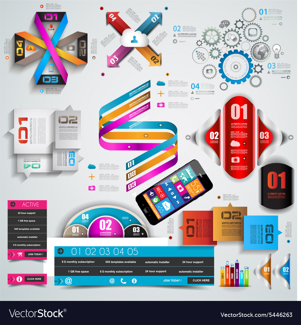 Mega collection quality infographics objects