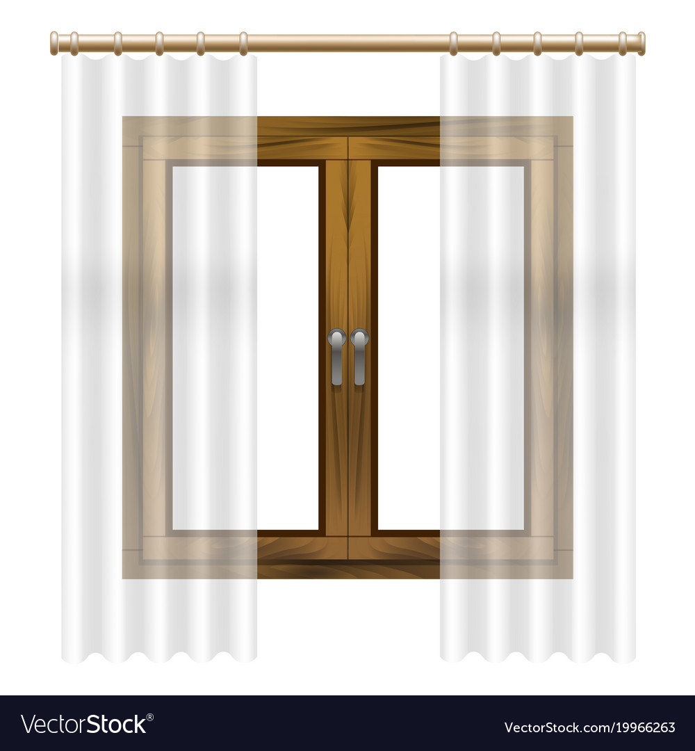 Realistic detailed 3d wooden window frame Vector Image