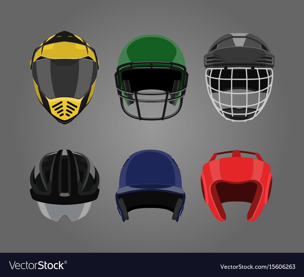 Set sports helmets on a gray background