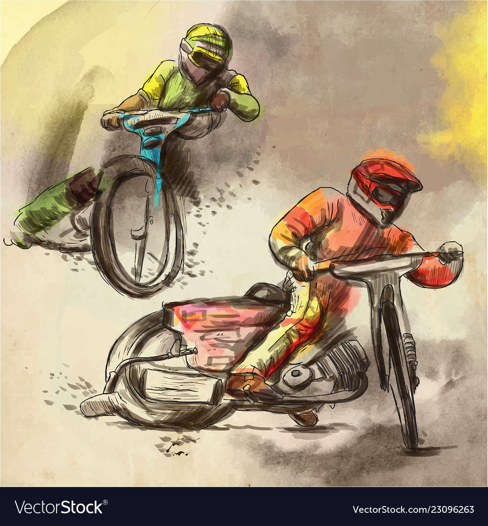Speedway motorcycle races - an hand drawn