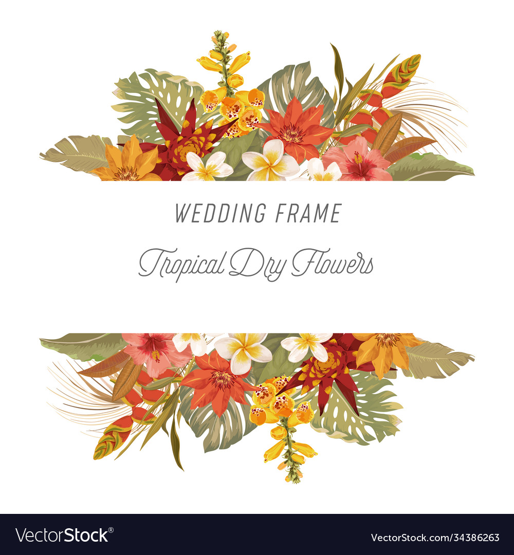 Tropical floral border with palm leaves tropic