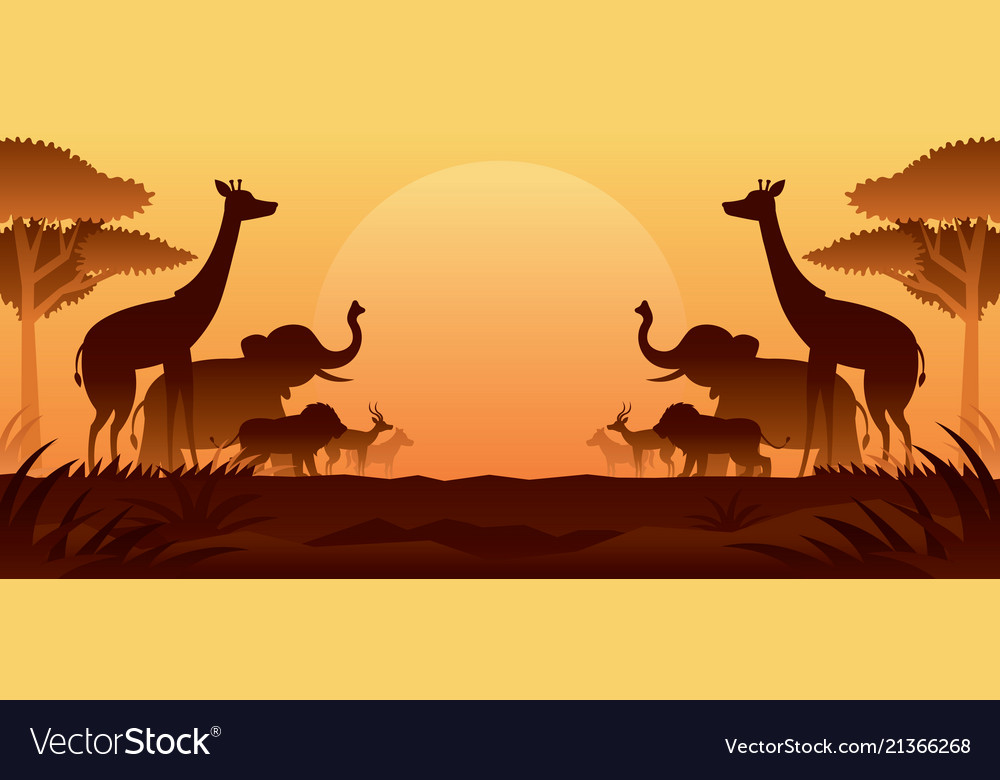 African safari animals silhouette background