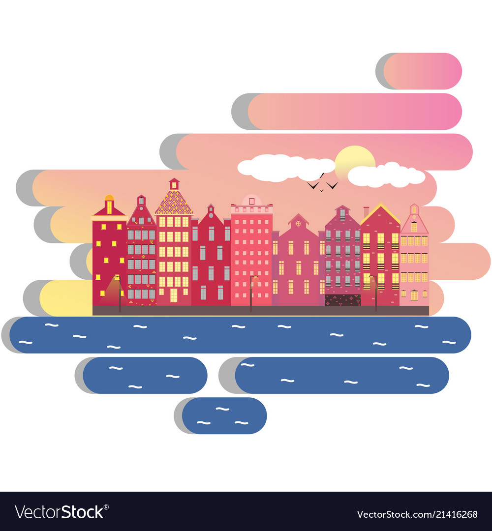 Amsterdam city day clouds concept