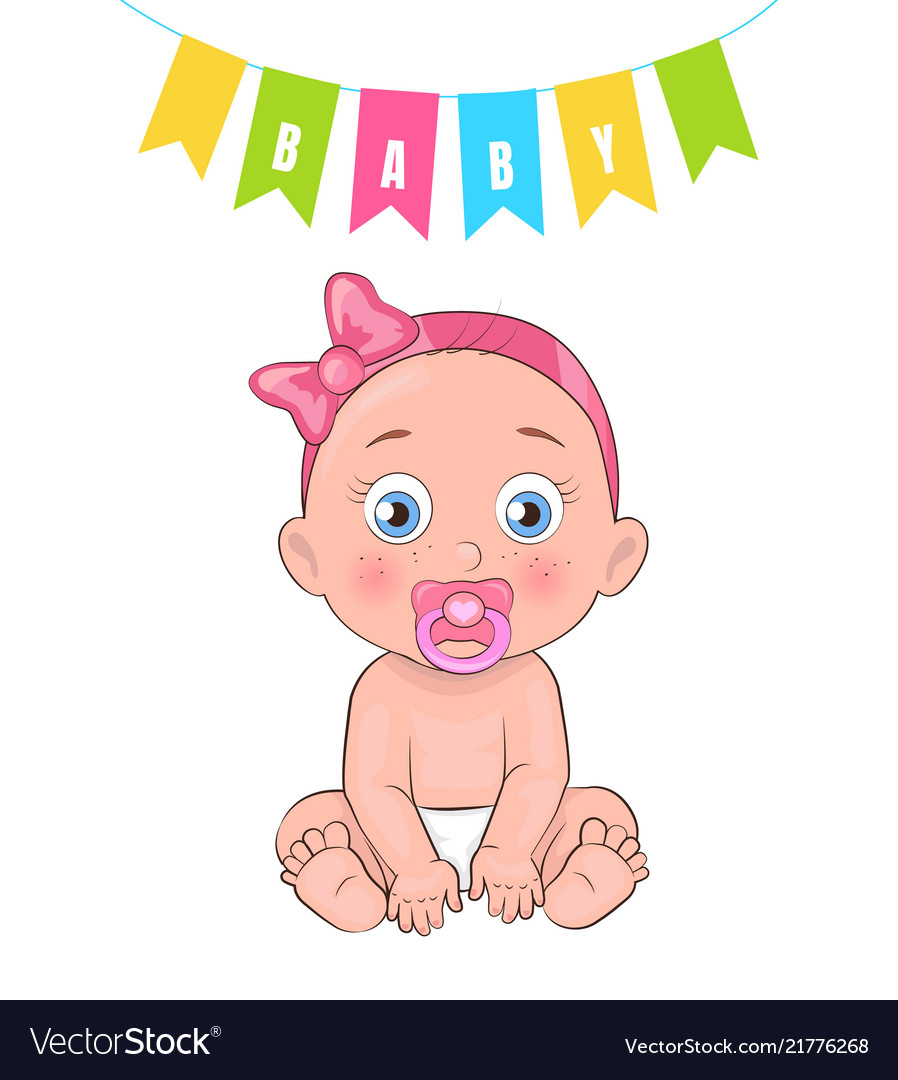 Baby Girl Poster Newborn Infant Pacifier In Mouth Vector Image