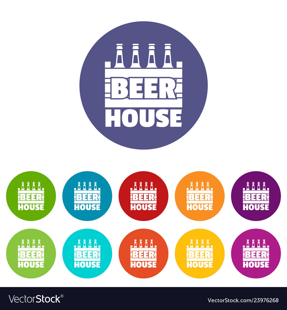 Beer icons set color