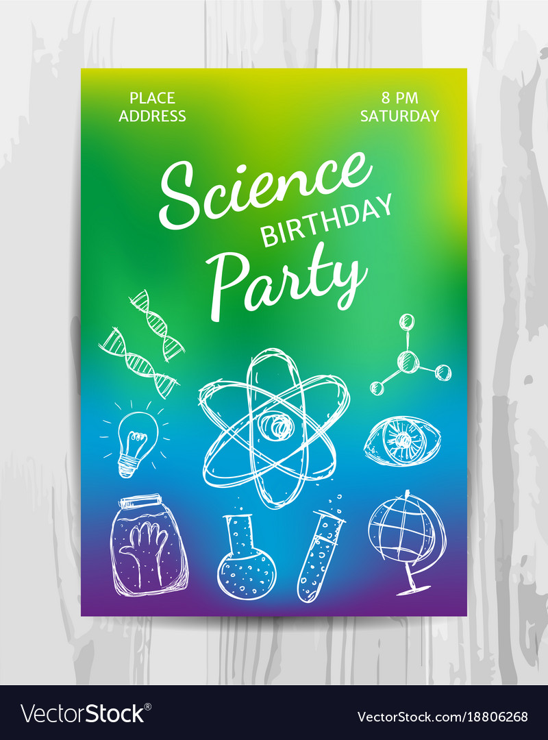 Birthday Party Invitation Card Science Vector Image