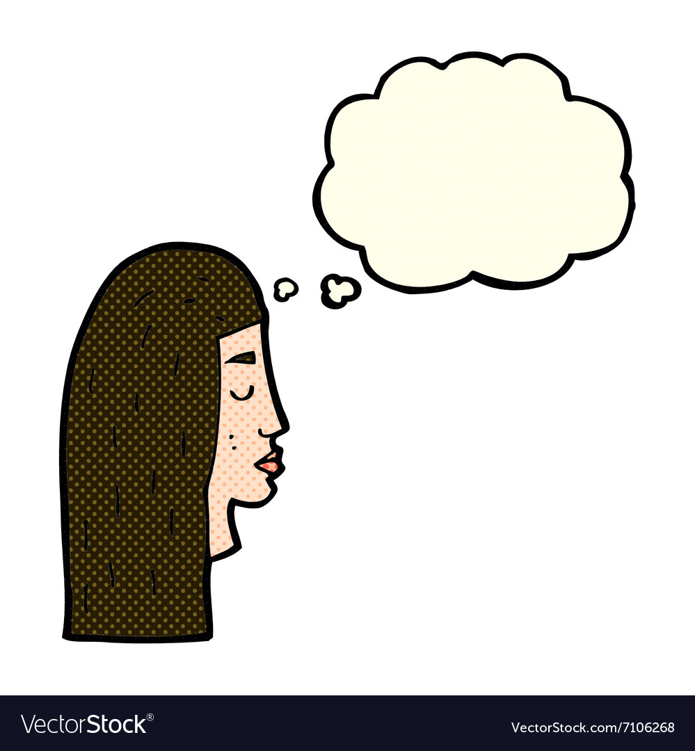 Cartoon female face profile with thought bubble